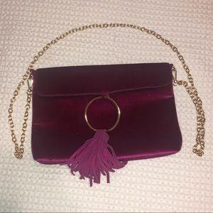 Fuchsia velvet crossbody purse